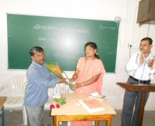 Dr.Smt. Arati Chougale Congratulating Shri. Bandopant Patil-On Selection As Sales-Tax Officer